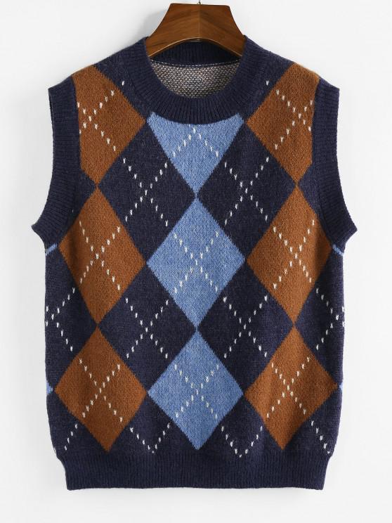 ZAFUL Argyle Rib Trim Sweater Vest - ازرق غامق M