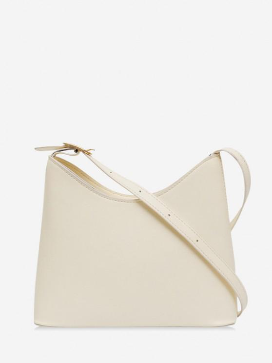 outfits Plain Leather Bucket Shoulder Bag - WARM WHITE