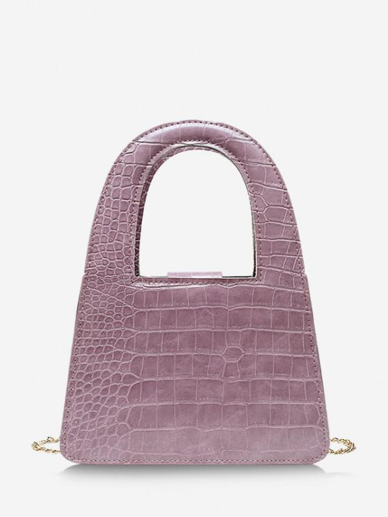 lady Textured Crossbody Chain Handbag - PALE VIOLET RED