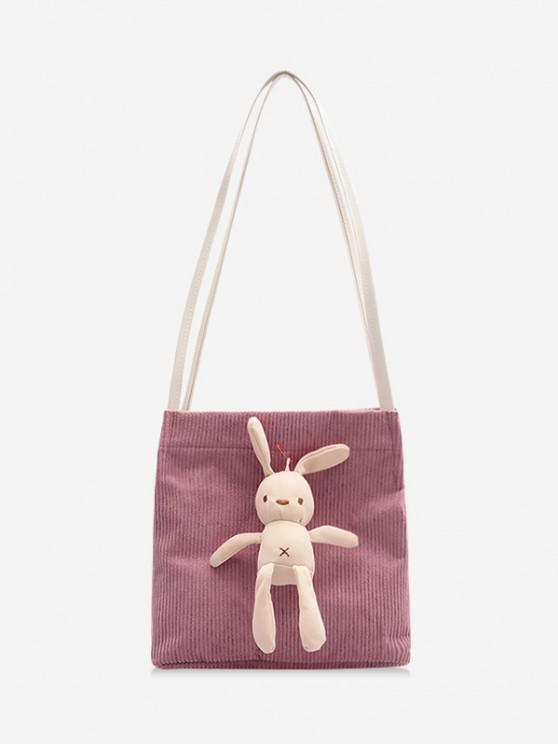 womens Cute Rabbit Corduroy Shoulder Bag - PINK ROSE