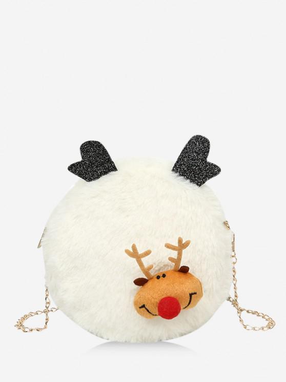 hot Christmas Elk Plush Chain Canteen Bag - WHITE