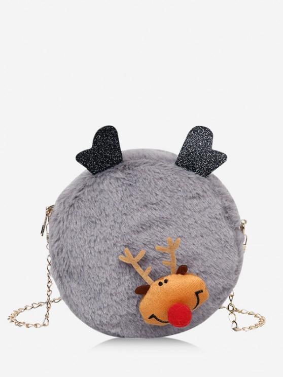 outfits Christmas Elk Plush Chain Canteen Bag - DARK GRAY