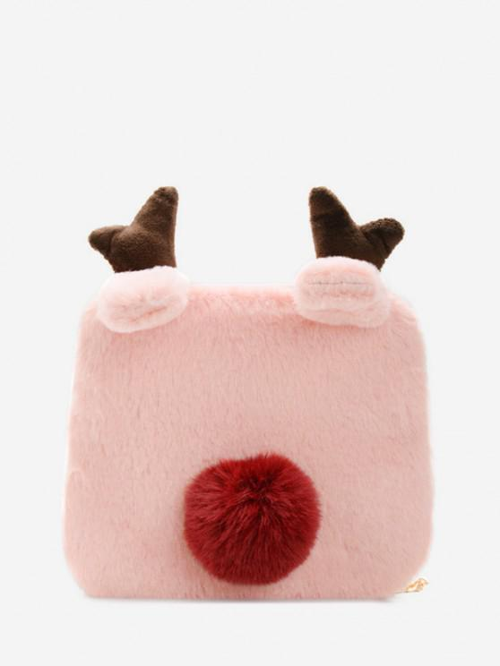 fancy Square Elk Plush Chain Crossbody Bag - LIGHT PINK