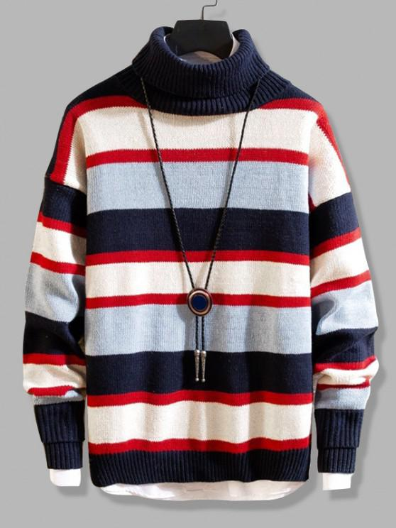 Color Blocking Striped Knit Turtleneck Sweater - ازرق غامق XS