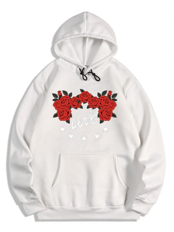 women Rose Flower Love Print Graphic Fleece Hoodie - WHITE XL