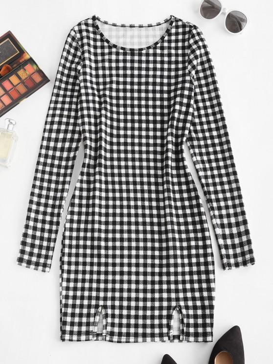 fashion ZAFUL Plaid Print Slit Front Bodycon Dress - BLACK S