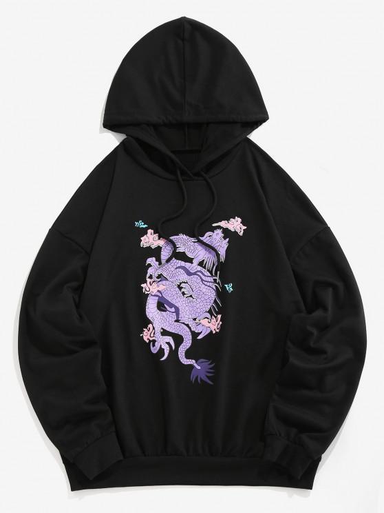 ZAFUL Dragon Print Oriental Drop Shoulder Hoodie - أسود XL