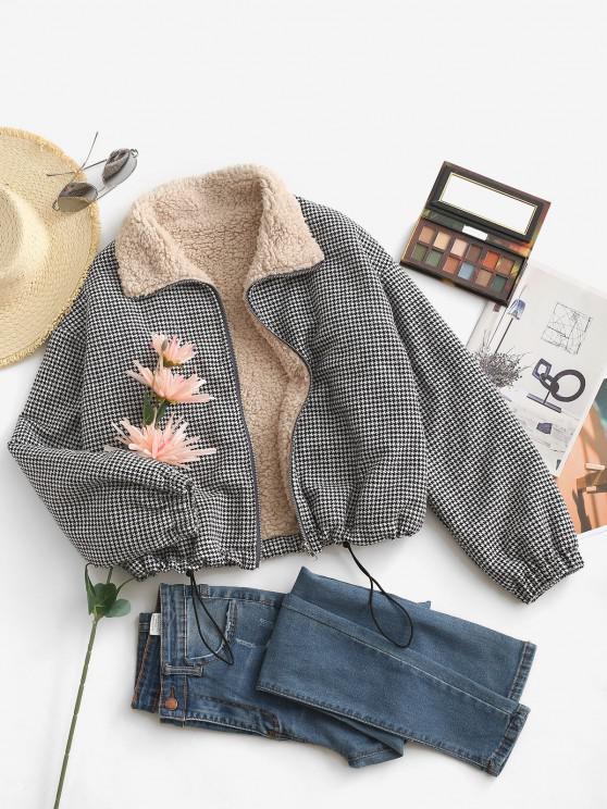 Zip Up Fleece Lined Plaid Houndstooth Jacket - أسود M
