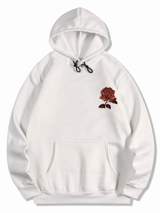 online Fleece Rose Flower Print Hoodie - WHITE 2XL