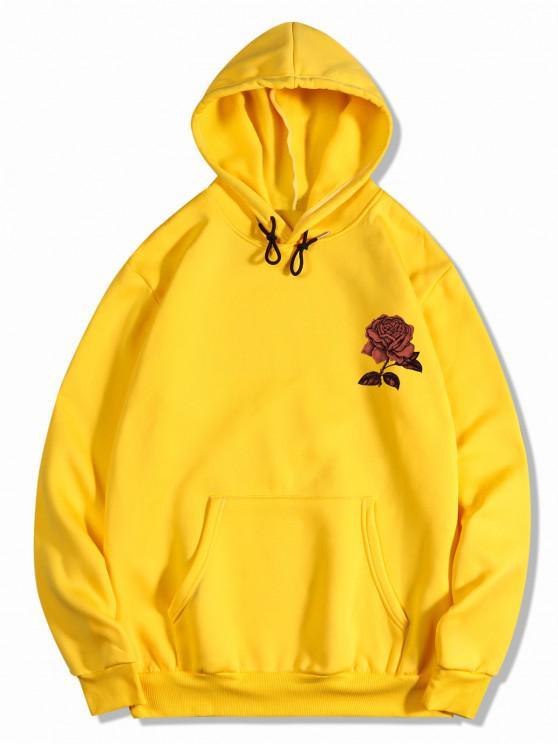 Fleece Rose Flower Print Hoodie - الأصفر XL
