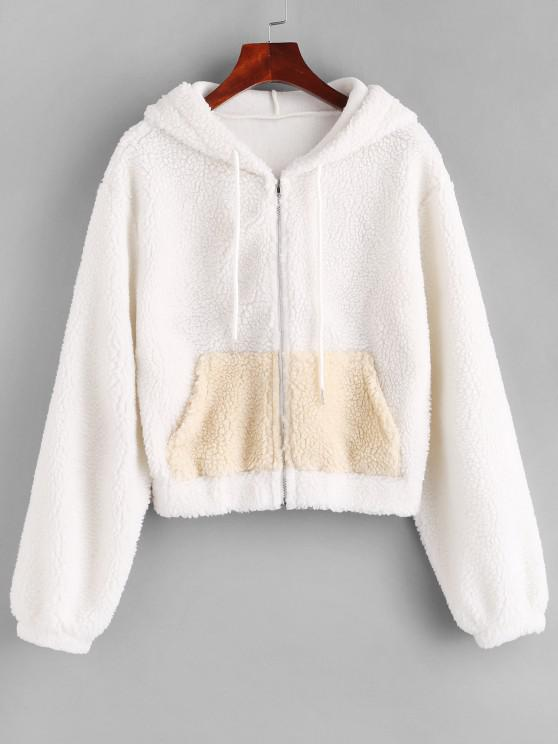 shop ZAFUL Hooded Zip Up Pocket Teddy Jacket - WHITE M