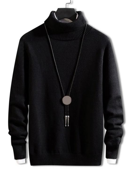outfits Turtleneck Solid Pullover Knit Sweater - BLACK M