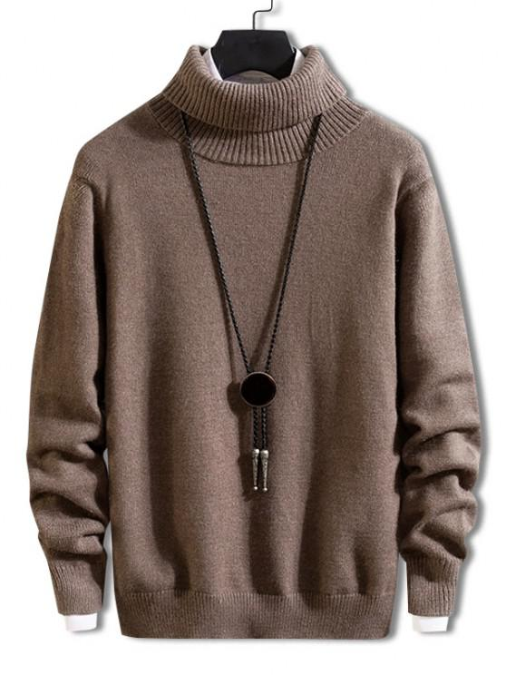 trendy Turtleneck Solid Pullover Knit Sweater - DEEP COFFEE S