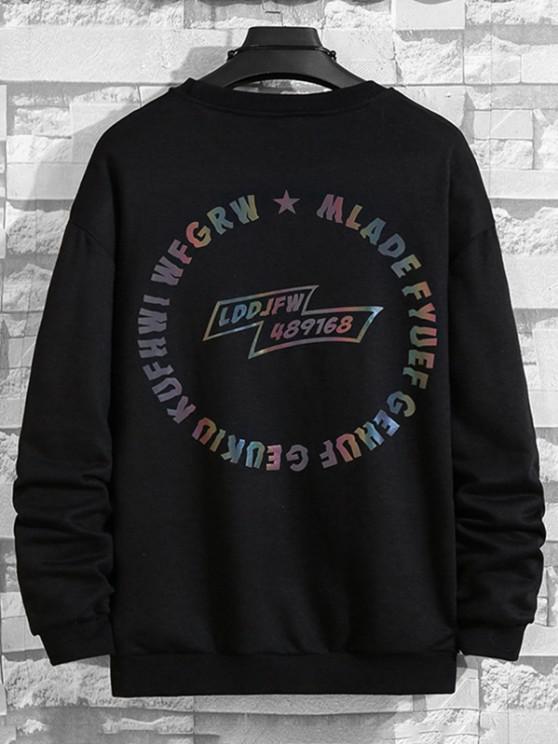 shop Letter Graphic Pullover SweatShirt - BLACK M