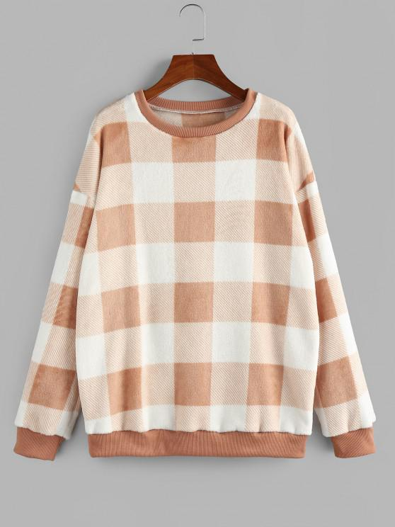 best ZAFUL Fleece Plaid Drop Shoulder Oversized Sweatshirt - LIGHT ORANGE L