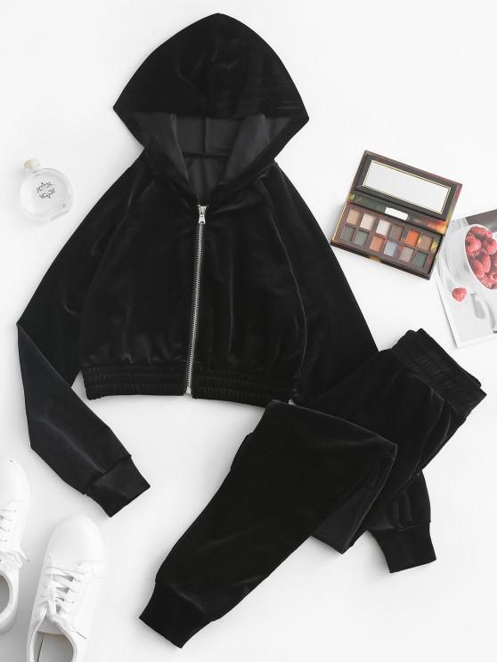 Zip Up Velvet Pocket Two Piece Pants Set - أسود S