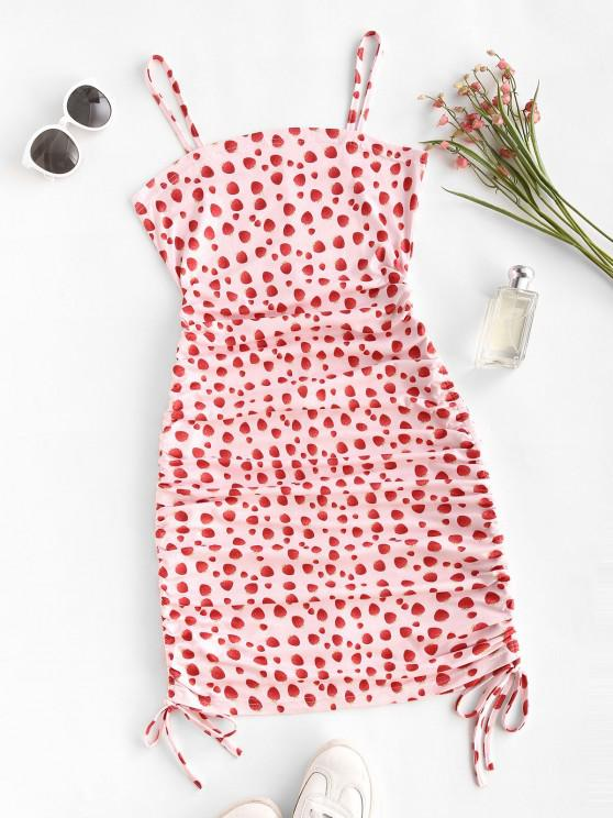 Mini Vestido Cami de morangos sem mangas - Luz rosa L