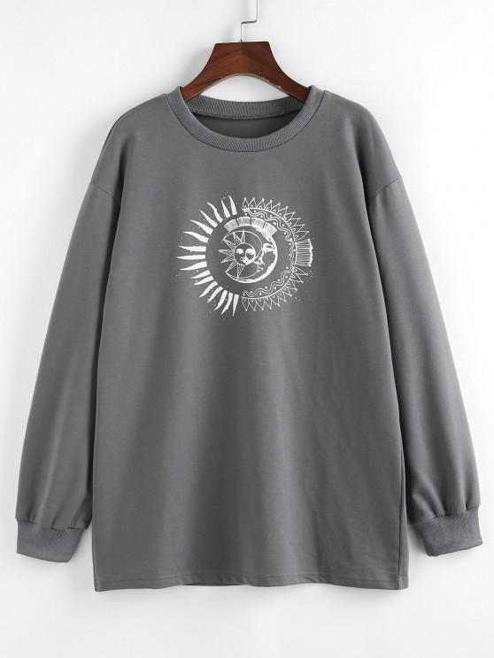 outfit ZAFUL Sun Moon Print Drop Shoulder Loose Sweatshirt - GRAY S