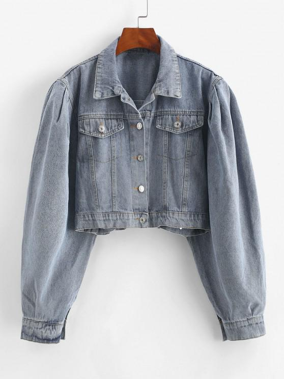 affordable Flap Detail Button Up Jean Jacket - BLUE S
