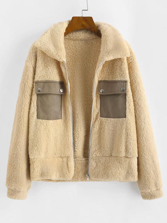 affordable Faux Fur Flap Pocket Fluffy Zip Jacket - LIGHT YELLOW L