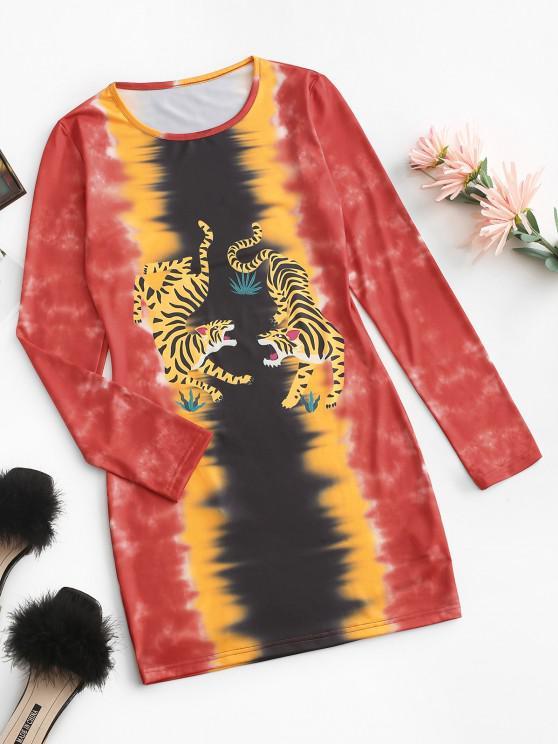 fancy ZAFUL Long Sleeve Tiger Tie Dye Mini Dress - RED M