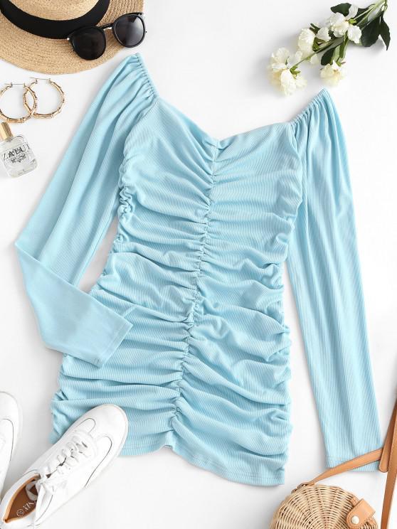Vestido Acanalado Manga Larga Fruncido - Azul claro S