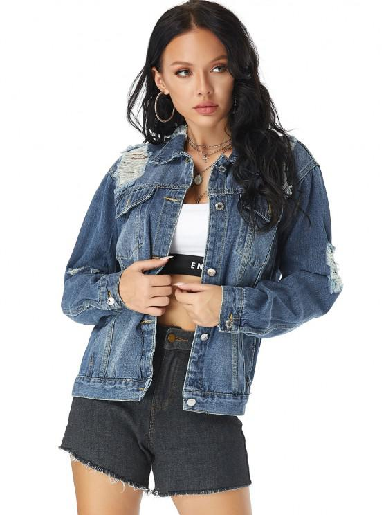Distressed Pocket Button Up Jean Jacket - أزرق M