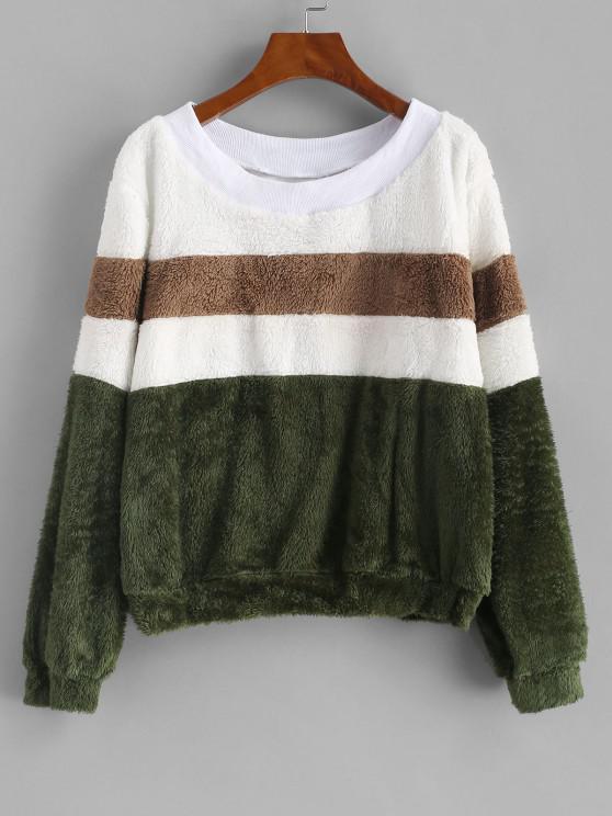 Faux Fur Colorblock Ribbed Neckline Sweatshirt - ديب غرين XL