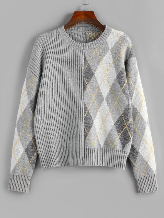 affordable ZAFUL Argyle Ribbed Drop Shoulder Sweater - LIGHT GRAY XL