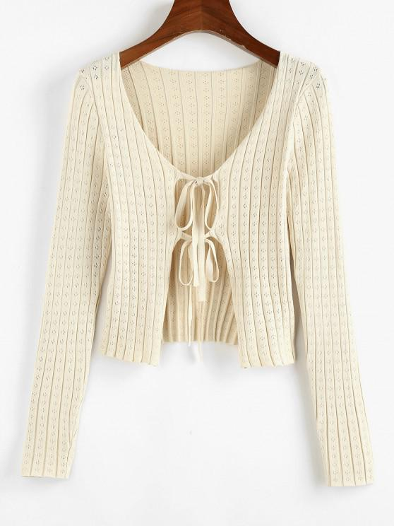 ZAFUL Tie Front Pointelle Knit Ribbed Cardigan - أصفر فاتح M