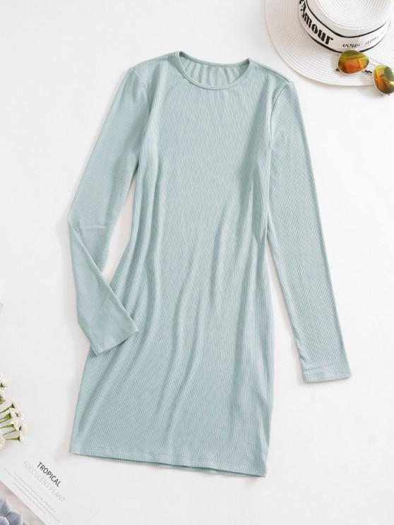 ZAFUL Rib Knit Mini Bodycon Dress - نعناع M