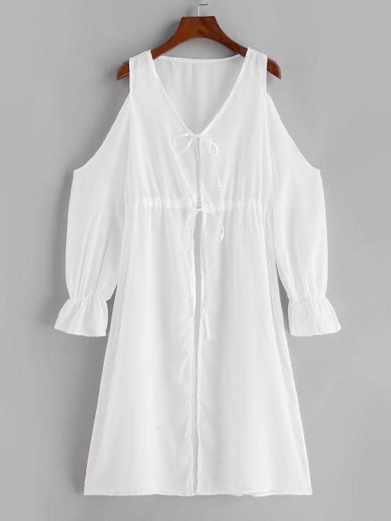 Cold Shoulder Plunge Tie See Thru Cover-up Dress - أبيض XL