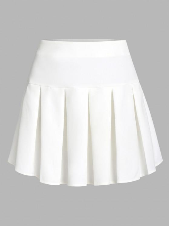 lady ZAFUL Pleated Mini Skirt - WHITE M