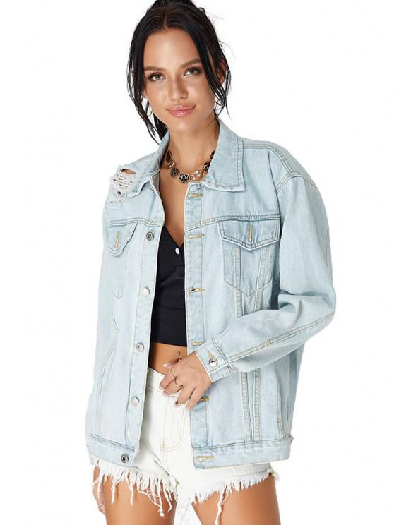 women Drop Shoulder Ripped Pocket Denim Jacket - LIGHT BLUE S