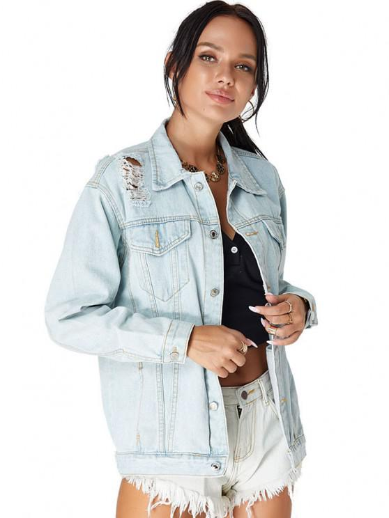 Drop Shoulder Ripped Pocket Denim Jacket - Light Blue S   ZAFUL