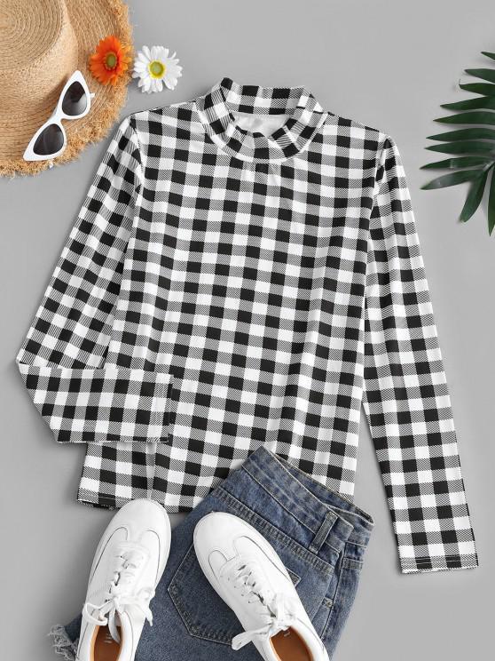 women Gingham Mock Neck Long Sleeve T-shirt - BLACK M