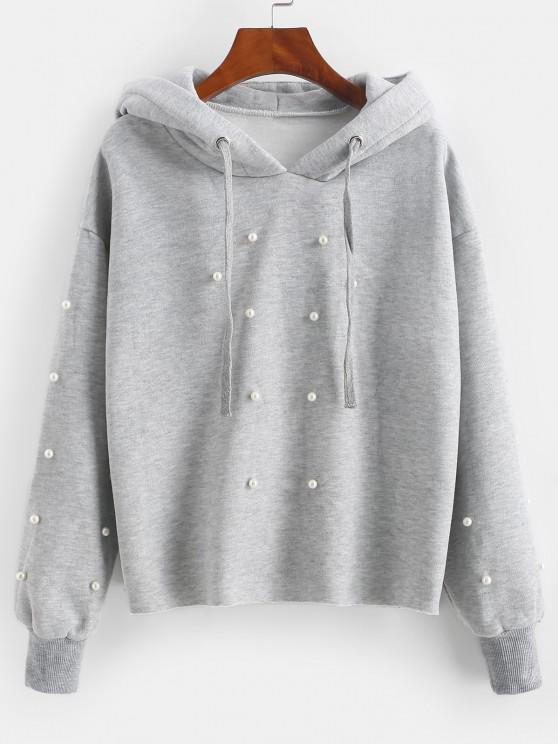 Faux Pearl Fleece Lined Raw Cut Pullover Hoodie - رمادي فاتح M