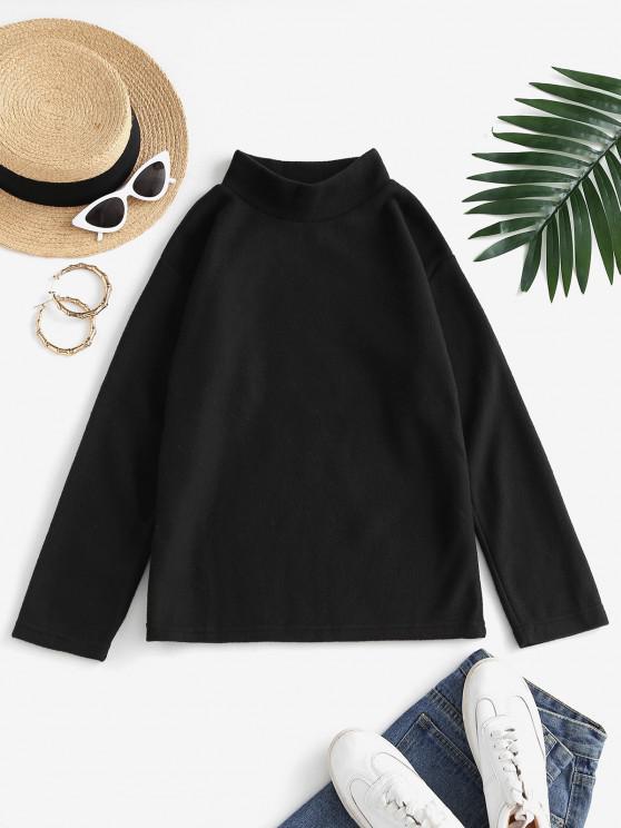 buy Mock Neck Fleece Plain Sweatshirt - BLACK S