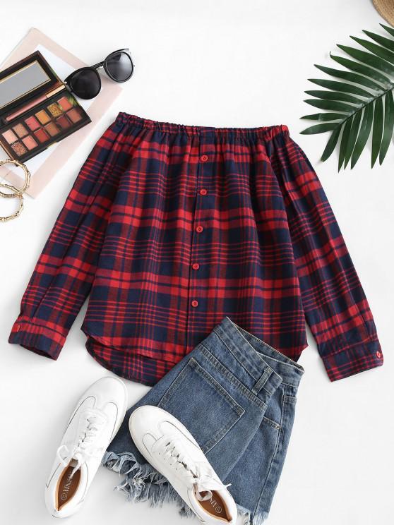 Plaid Off Shoulder Mock Button Tunic Blouse - أحمر L
