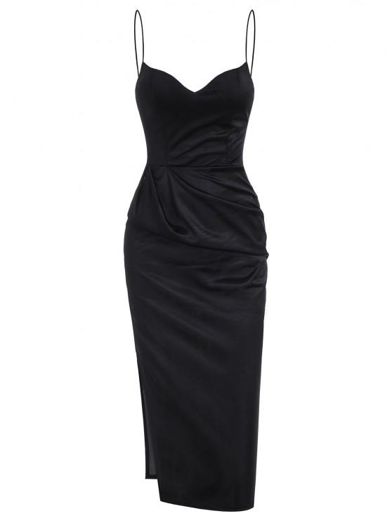 affordable Slit Satin Ruched Bodycon Cami Dress - BLACK L
