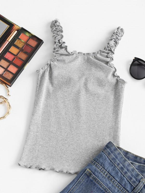 Ribbed Lettuce Trim Ruched Fitted Tank Top - Gray S | ZAFUL
