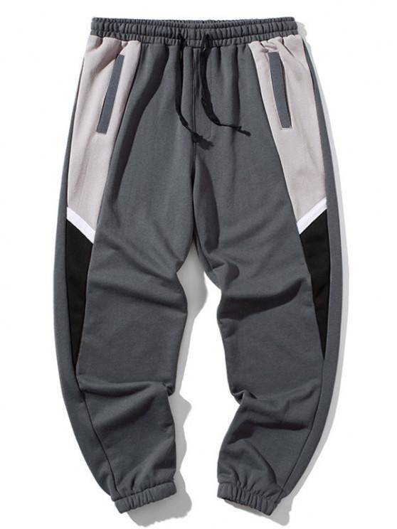 Pantalones Deportivos con Parche de Color Bloque - Nube Gris 4XL