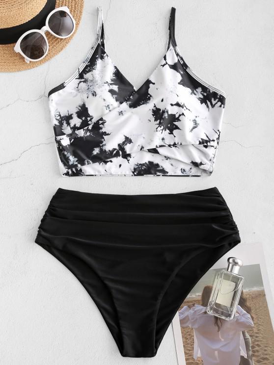 shop ZAFUL Tie Dye Cirss Cross Tankini Swimwear - WHITE M