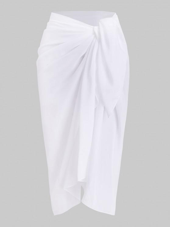 women's Plain Chiffon Beach Sarong - WHITE ONE SIZE