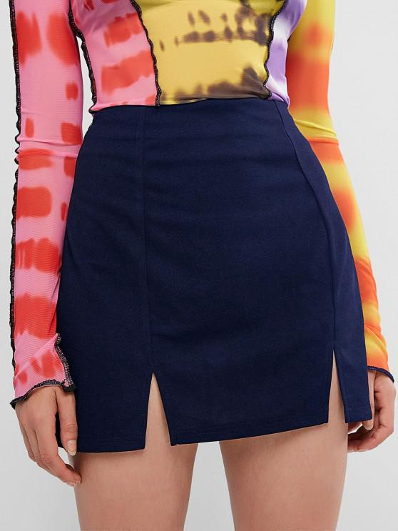 new ZAFUL Slit Mini Skirt - DEEP BLUE M