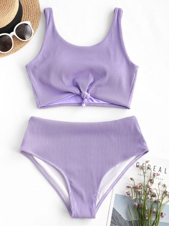 new ZAFUL Knot Textured Ribbed Tankini Swimsuit - LIGHT PURPLE S