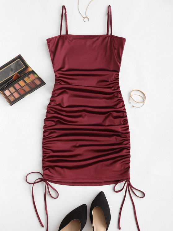 hot ZAFUL Spaghetti Strap Cinched Satin Bodycon Dress - RED WINE M