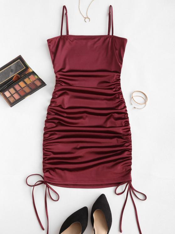 ZAFUL Spaghetti Strap Cinched Satin Bodycon Dress - نبيذ احمر S