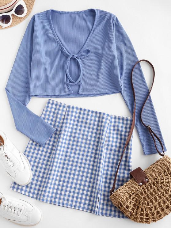unique Tie Front Ribbed Plaid Slit Two Piece Dress - BLUE XL