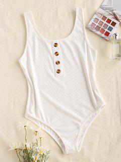 Ribbed Mock Button Bodysuit - White S